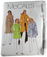 Mccall's M5060 Sewing Pattern Misses Lined Coat in Two Lengths and Tie Belt Size AA 6,8,10,12
