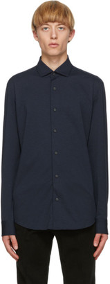 Ermenegildo Zegna Blue Jersey Regular Fit Shirt