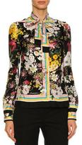 Dolce & Gabbana Floral Bouquet Silk Twill Tie-Neck Blouse, Black