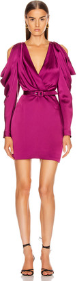 Jonathan Simkhai Pleated Sleeve Belted Mini Dress in Magenta | FWRD