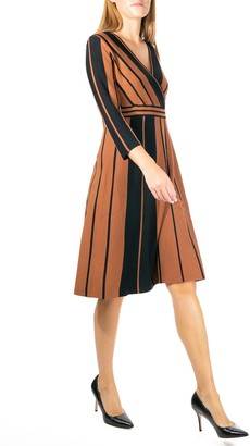 Nina Leonard Stripe Surplice Neck Fit & Flare Dress