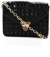 Banana Republic Black Synthetic Leather Quilted Gold Tone Chain Shoulder Handbag