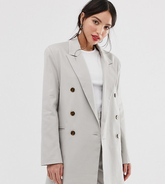 Asos Tall DESIGN Tall oversized double breasted dad suit blazer-Cream