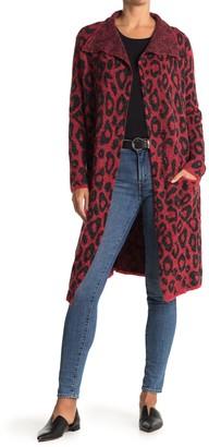 Joseph A Drape Collar Print Maxi Cardigan Sweater Coat