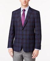 Tommy Hilfiger Men's Slim-Fit Blue and Red Plaid Sport Coat