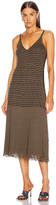 Chloé Sleeveless Stripe Midi Dress in Misty Khaki | FWRD