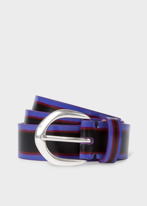 Paul Smith Women's Black Brush-Off Leather Belt With Silver Buckle