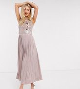 Little Mistress Tall midi skater dress with embellished lace in mink