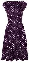 Wallis Purple Polka Dot Fit and Flare Dress