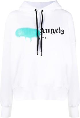 Palm Angels Logo Print Cotton Hoodie