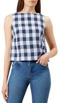 Hobbs London Mira Gingham-Print Linen Top