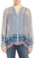 Lucky Brand Women's Mixed Print Pintuck Pleat Sheer Blouse