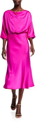 Milly Dia Cowl-Neck 1/2-Sleeve Stretch Silk Midi Dress