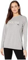 Lauren Ralph Lauren Petite Dream Cotton-Blend Sweater (Pearl Grey Heather/Mascarpone Cream) Women's Clothing