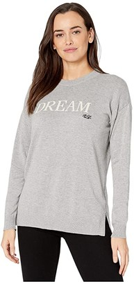 Lauren Ralph Lauren Petite Dream Cotton-Blend Sweater (Pearl Grey Heather/Mascarpone Cream) Women's Clothing