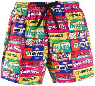 Moschino chewing gum print swim shorts
