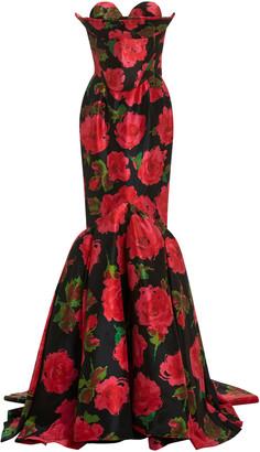 Richard Quinn Floral-Print Taffeta Gown