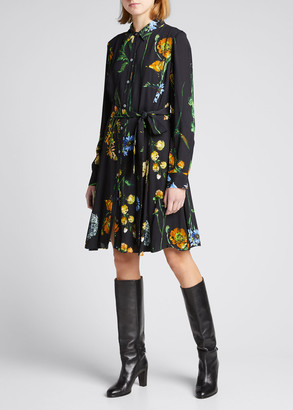 Lela Rose Floral Belted Shirtdress