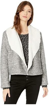 BB Dakota Warm Regards Bonded Knit and Faux Fur Shearling Hidden Button Front Jacket (Light Heather Grey) Women's Coat