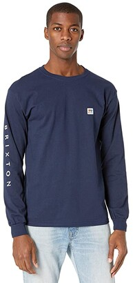 Brixton Alton II Long Sleeve Standard Fitting T-Shirt (Navy) Men's Clothing