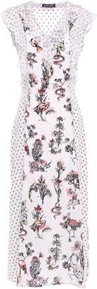Markus Lupfer Larissa Crepon-paneled Printed Silk Crepe De Chine Midi Dress