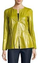 Lafayette 148 New York Lucina Zip-Front Lambskin Peplum Jacket, Chicory