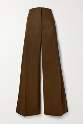 ANNA MASON Beau Cotton-drill Wide-leg Pants - Army green