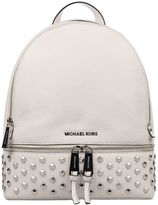 Michael Kors White Rhea Hammered Leather Backpack