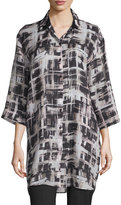 Lafayette 148 New York 3/4-Sleeve Box-Print Tunic, Black Multi