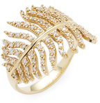 Mizuki 14K Gold Diamond Feather Ring