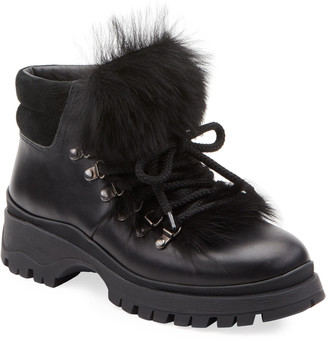 Prada Lug-Sole Hiker Boots with Fur Trim