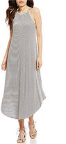 Soprano Striped High Neck Sleeveless Maxi Dress