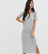 Asos DESIGN Petite rib maxi t-shirt dress