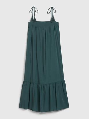 Gap Apronneck Tassel Tie Midi Dress