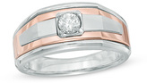Zales Men's 1/3 CT. Diamond Solitaire Comfort Fit Band in 14K Two-Tone Gold