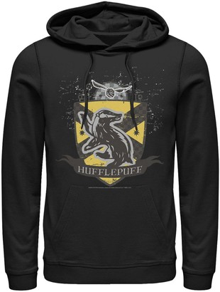 Harry Potter Mens Graphic Teen Guys Mens Deathly Hallows 2 Quidditch Badge Graphic Pullover Hoodie
