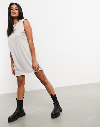 ASOS DESIGN padded shoulder sleeveless t-shirt mini dress in oatmeal marl