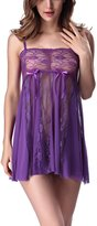 YMING Womens Lace Stiching Babydoll See-through Sexy Nightwear Set L