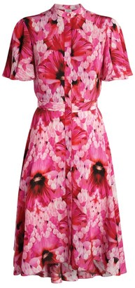 Alexander McQueen Endangered Flower Print Midi Dress