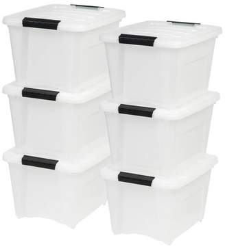 Iris 6pk 19qt Stack & Pull Storage Box - Pearl