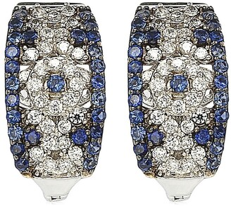 Suzy Levian Sterling Silver Sapphire & Diamond Abstract Earrings