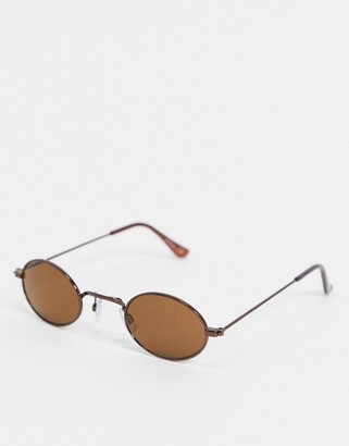 Jeepers Peepers brown round frame sunglasses