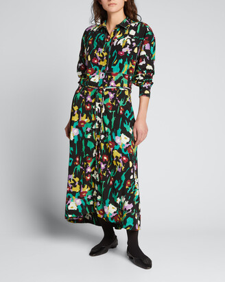 Proenza Schouler White Label Painted Floral-Print Shirtdress