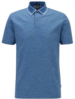 HUGO BOSS Slim-Fit Heathered Contrast Collar Polo