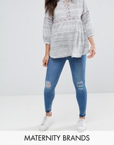 New Look Maternity Over The Bump Ripped Jean