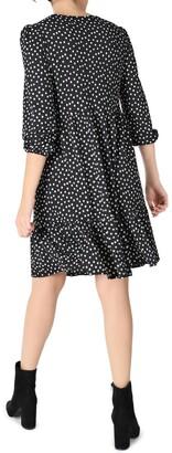 Sandra Darren Quarter Sleeve Textured Knit Tier A-Line Dress