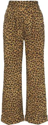 Mara Hoffman Caressa leopard print high-waisted wide leg trousers
