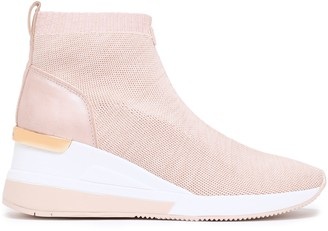 MICHAEL Michael Kors Skyler Leather-trimmed Melange Knitted Wedge Sneakers