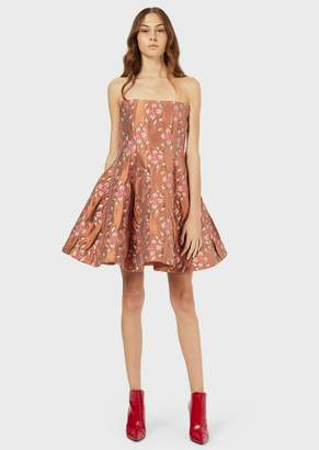 Emporio Armani Quilted Bustier Dress With Jacquard Floral Motif