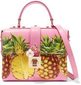 Dolce & Gabbana Printed Textured-leather Shoulder Bag - Pink